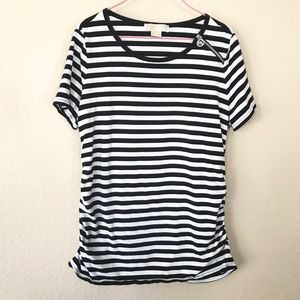 Michael Kors Black and White Striped Tunic Top
